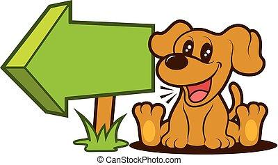 Cartoon Cute puppy sitting beside arrow signboard