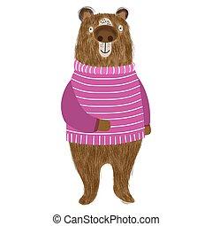 Cartoon cute shaggy bear in a beautiful striped sweater, animalistic postcard, poster, print. Vector illustration.