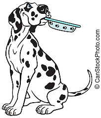 cartoon dog dalmatian breed, picture isolated on white background