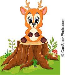 Cartoon deer posing