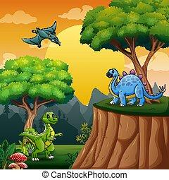 Cartoon dinosaurs in the jungle