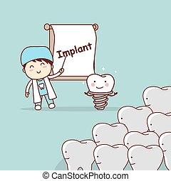 cartoon doctor or dentist teach teeth implant, great for dental care concept