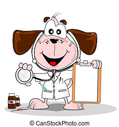 A cartoon dog doctor or vet with stethoscope & blank clipboard