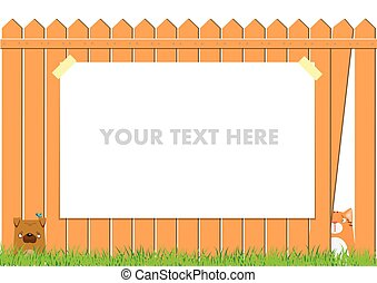 Cartoon dog and cat on the fence. Cute pets background. Banner with ads