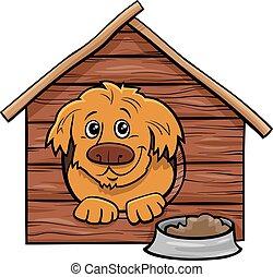 cartoon dog comic animal character in doghouse