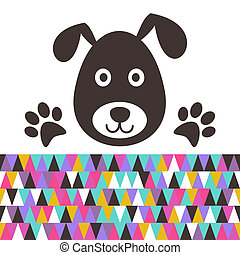 Cute black dog head with paws vector illustration