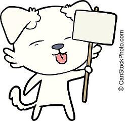 cartoon dog holding sign post