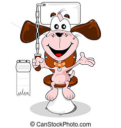 Cartoon dog house trained sitting on the toilet