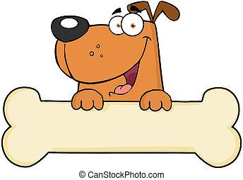 Cartoon Happy Dog Over Bone Banner