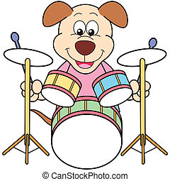 Cartoon Dog Playing Drums