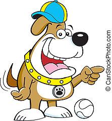 Cartoon dog pointing.