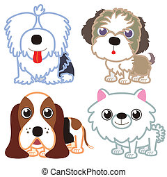 illustration of four cartoon cute dog collection.