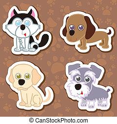cartoon dog sticker set.