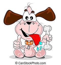 Cartoon dog with a bone