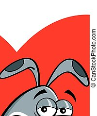 Cartoon dog with a heart background