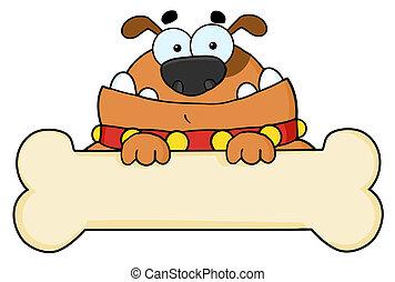 Cartoon Dog With Bone Banner