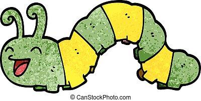cartoon doodle laughing caterpillar