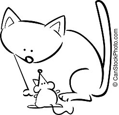 cartoon doodle of cat and mouse for coloring