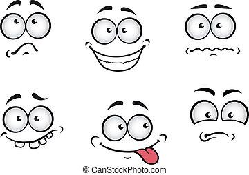 Cartoon emotions faces set for comics design