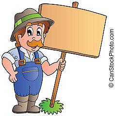 Cartoon farmer holding wooden board - vector illustration.