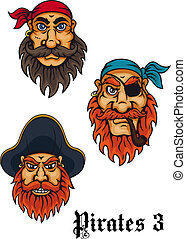 Cartoon fierce pirates and captains set for adventures, tattoo and mascot design