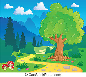 Cartoon forest landscape 8 - vector illustration.