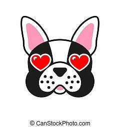 Cartoon french bulldog. Dog with hearts in eyes