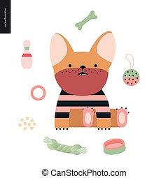 Cartoon French Bulldog. Vector Illustration