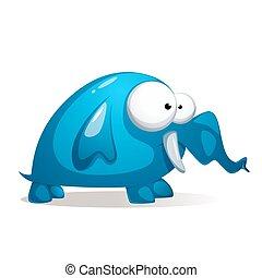 Cartoon funny, cute blue Elephant.