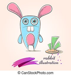 Cartoon funny, cute, crazy rabbit. Carrot illustration.