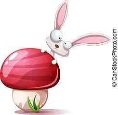 Cartoon funny, cute rabbit and mushroom.