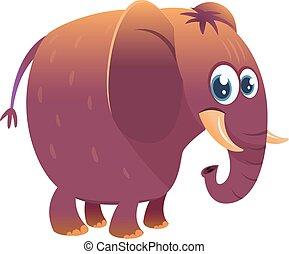Cartoon funny elephant. Vector illustration