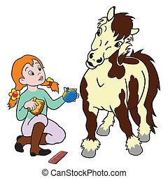 horse care, little girl grooming pony, child rider, equestrian sport, cartoon illustration