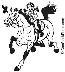 cartoon girl riding horse