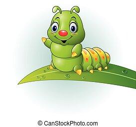 Vector illustration of Cartoon green caterpillar on the leaf
