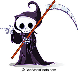 Cute cartoon grim reaper with scythe pointing. Isolated on white
