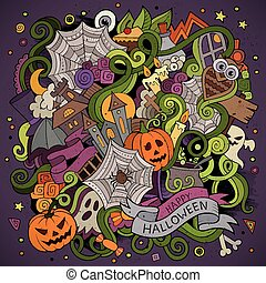 Cartoon hand-drawn Doodles on the subject of Halloween symbols, food and drinks colorful background