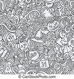 Cartoon hand-drawn Doodles on the subject of Halloween symbols, food and drinks seamless pattern. Contour background