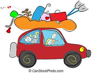 cartoon happy family traveling