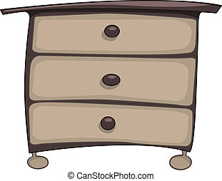 Cartoon Home Furniture Chest of Drawers Isolated on White Background. Vector.