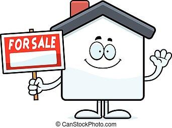 Cartoon Home Sale Waving
