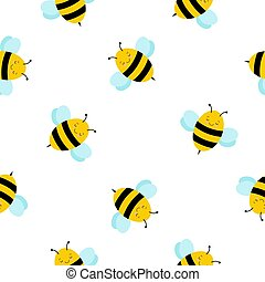 Cartoon Honey Bee seamless pattern background. Cute Bee vector. Vector seamless pattern with honey bee background.