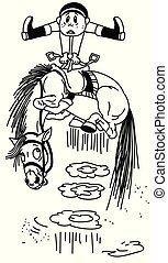 cartoon horse throws off a rider BW