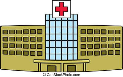 A cartoon depiction of a generic hospital building.