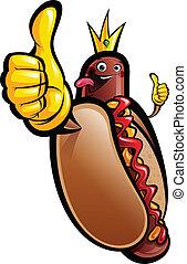 Cartoon hot dog king making a thumbs up gesture