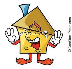 Cartoon House Crying Vector