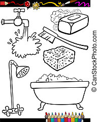 Coloring Book or Page Cartoon Illustration of Black and White Hygiene Objects Set for Children Education
