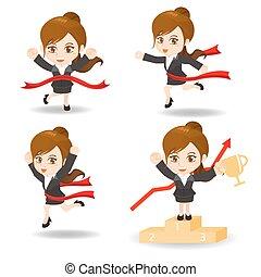 cartoon illustration set of Business woman competitive, winner, ceremony