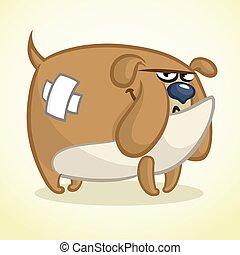 Cartoon illustration of a lovely bulldog. Vector dog character