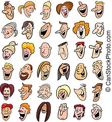 cartoon illustration of huge set of laughing people faces